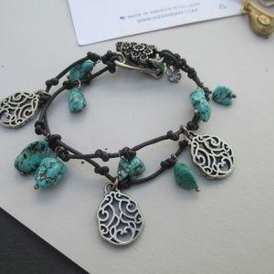 Lucky Brand Turquoise Beaded Bracelet Alligator